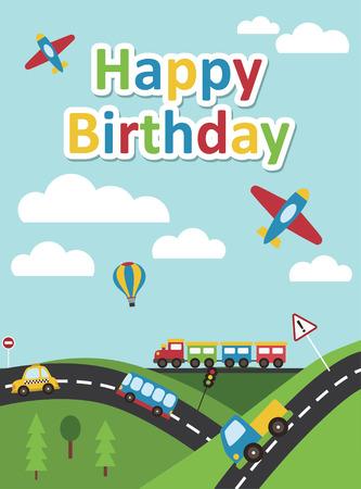 street party: happy birthday vehicle card. vector illustration Illustration