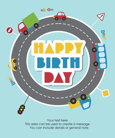 happy birthday cartoon: happy birthday vehicle card. vector illustration Illustration
