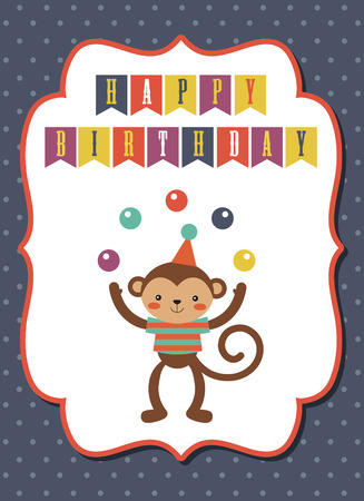 circus happy birthday card design. vector illustration Vector