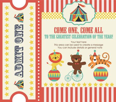 tarjeta de invitacion: diseño de la tarjeta del partido del circo. ilustración vectorial