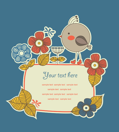 cute frame design for greeting card.  Stock Vector - 27421907