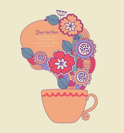 teatime: cute teatime card.  Illustration