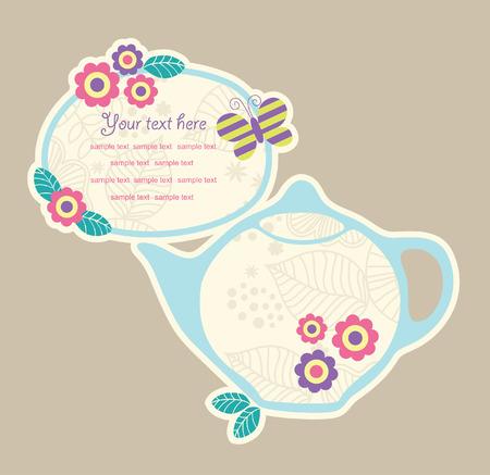 tea party: cute frame design. vector illustration