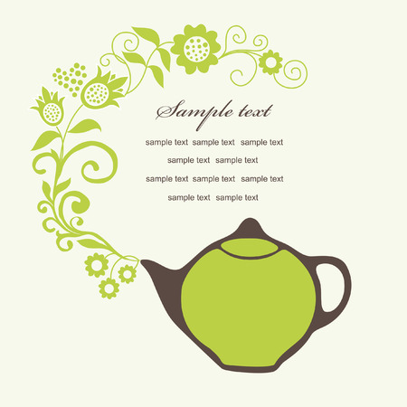 elegant card with teapot. vector illustration Vector