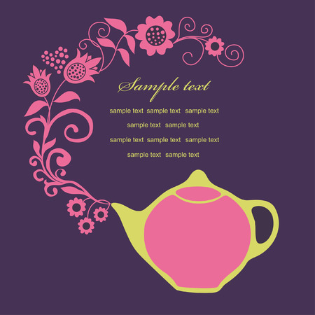 elegant card with teapot. vector illustration