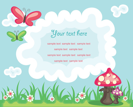 mushroom cloud: vector colorful summer background with place for text and funny design elements