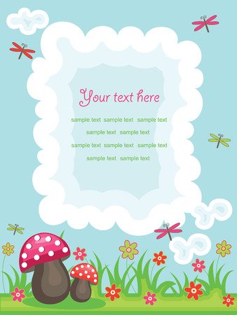 horizon over land: vector colorful summer background with place for text and funny design elements Illustration