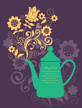 tea kettle: elegant card with teapot. vector illustration