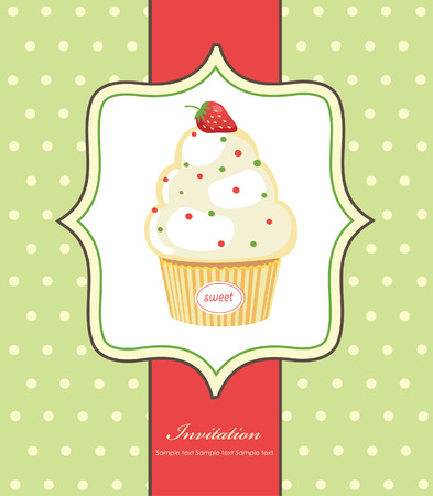 cute invitation background with cupcake. vector illustration Vector