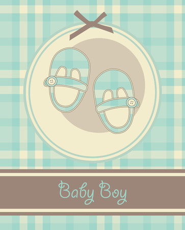 nice baby boy shoes arrival card. vector illustration Vector