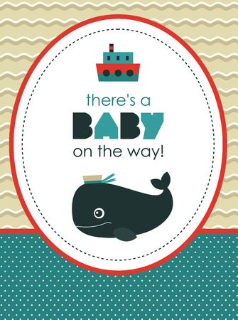 sea baby shower card design. vector illustration Vector