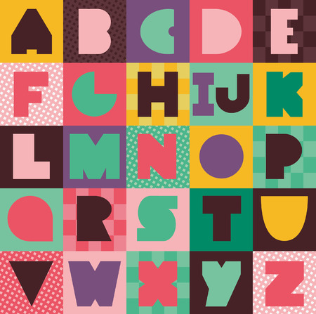 whimsical alphabet design. vector illustration Illustration
