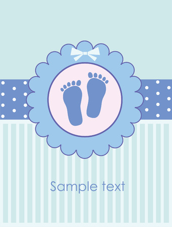 kids feet: baby arrival greeting card. vector illustration Illustration