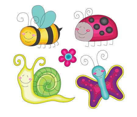 abeja caricatura: conjunto de insectos divertidos. ilustración vectorial Vectores