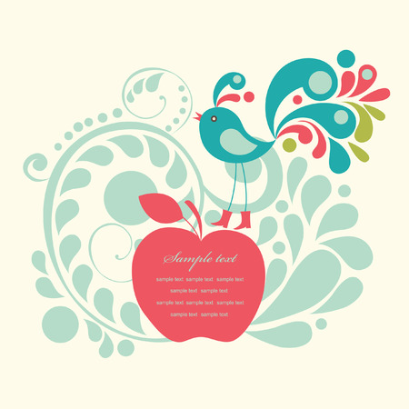 greeting card: cute frame design for greeting card. vector illustration