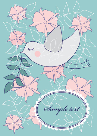 cor: cute bird over floral background. vector illustration Illustration