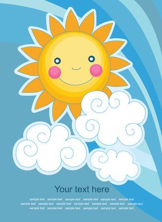 bright sun: fun sun over abstract sky background. vector