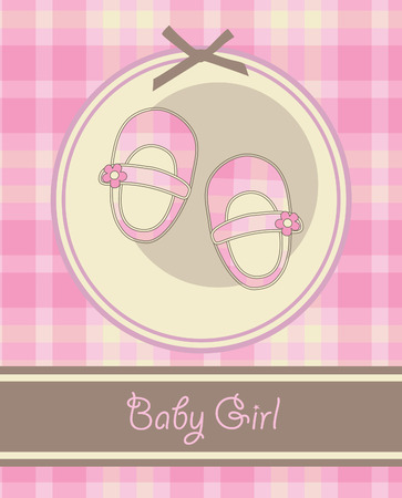 nice baby girl shoes arrival card. vector illustration Vector