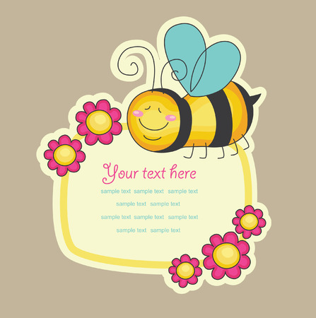 cheeful bee. vector illustration