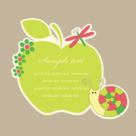apple snail: cute frame design with snail. vector illustration