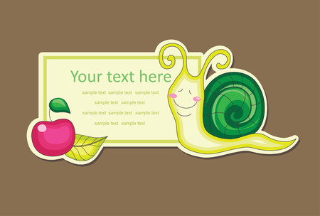 apple snail: cheerful snail. vector illustration