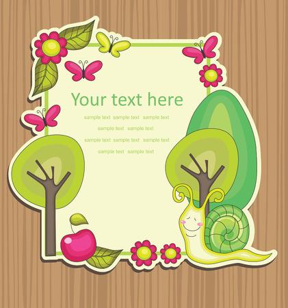 cute frame design with snail. vector ilustration Illustration