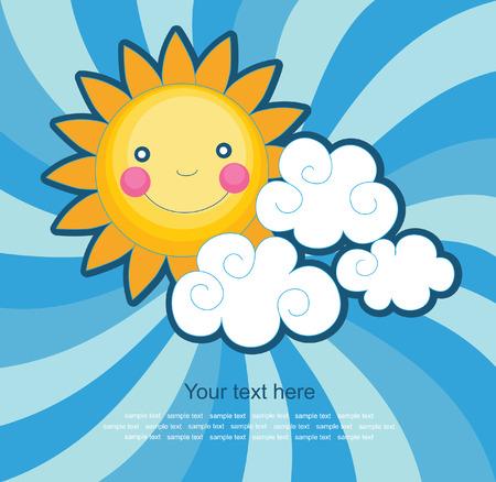cartoon summer: fun sun over abstract sky background. vector