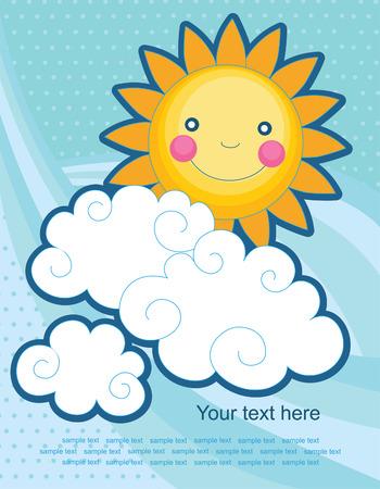 nubes caricatura: diversi�n sol sobre el cielo de fondo abstracto. vector Vectores
