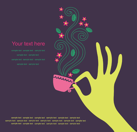 feminine hand with a cup of tea. vector illustration Vector
