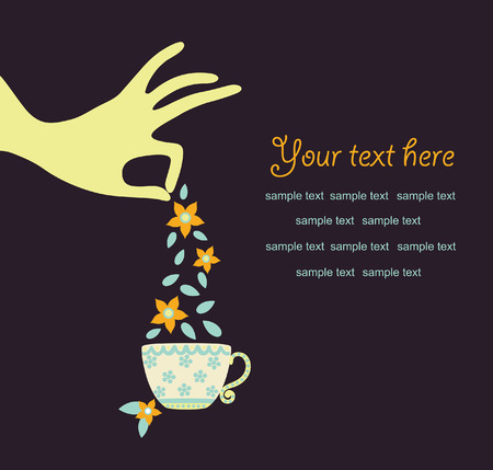 hand with a cup of tea. vector illustration Vector