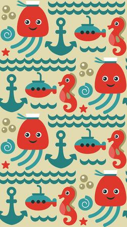 seamless sea pattern design. vector illustration Vector