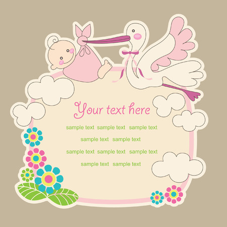 baby announcement card. vector illustration Vector