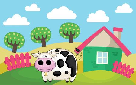 granja caricatura: paisaje de la granja. ilustraci�n vectorial