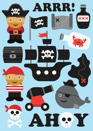 pirate ship: pirate objects collection. vector illustration Illustration