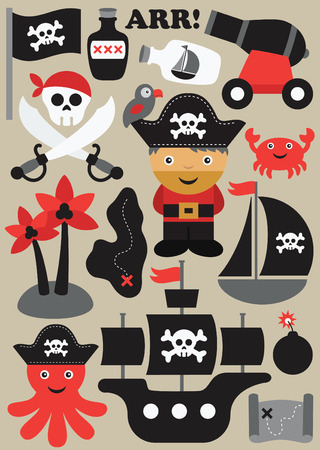 character of people: pirate objects collection. vector illustration Illustration