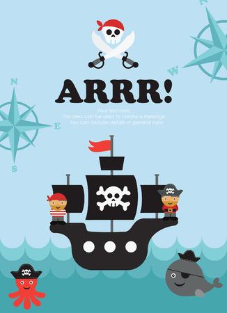 dinghy: pirate card design. vector illustration