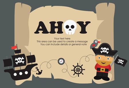 cheerful cartoon: dise�o de la tarjeta del partido del pirata. ilustraci�n vectorial