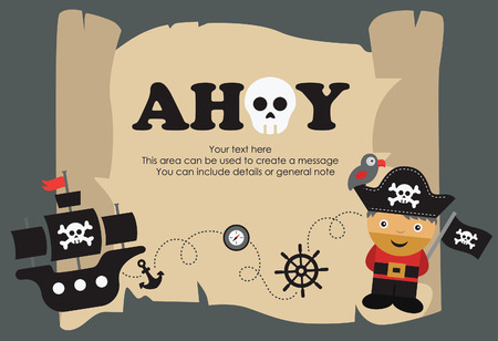 pirate cartoon: pirate party card design. vector illustration
