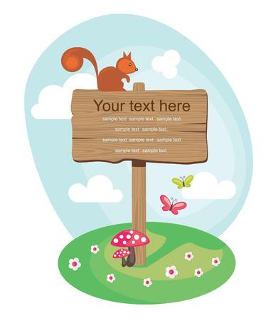 advisory: wooden board over cute nature scene. vector illustration Illustration