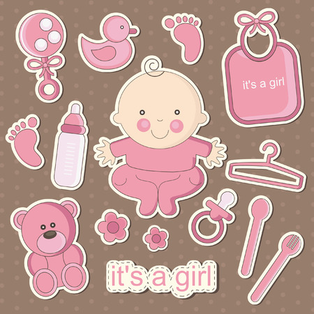 nice girl: cute baby elements. vector illustration Illustration