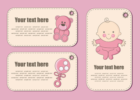 cute baby girl stickers. vector illustration