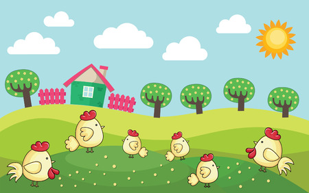 farm landscape. vector illustration