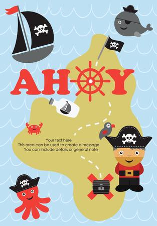 Piratenkarte-Design. Vektor-Illustration