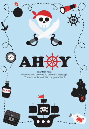 calavera pirata: dise�o de la tarjeta pirata. ilustraci�n vectorial