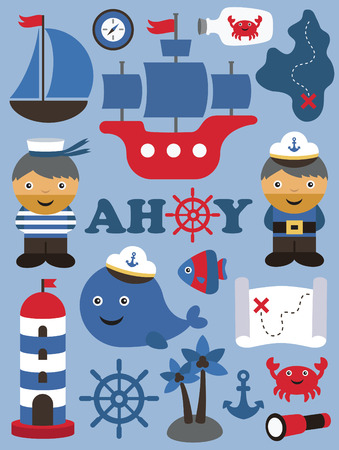 sea theme objects collection. vector illustration 矢量图像
