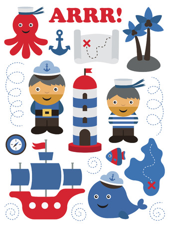 sea theme objects collection. vector illustration Vector