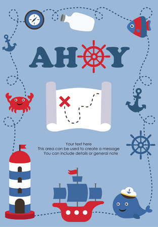ship with gift: ahoy party card design. vector illustration