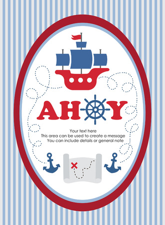 ahoy: ahoy party card design. vector illustration