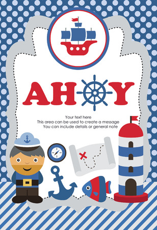 ahoy: ahoy party card design. vector illustration
