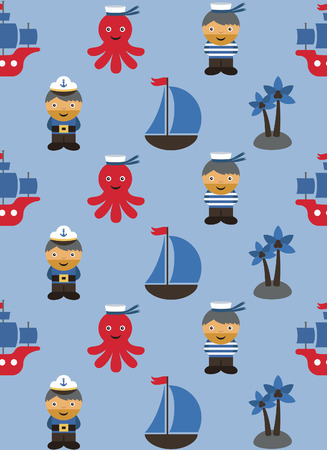 ahoy: sea pattern design. vector illustration